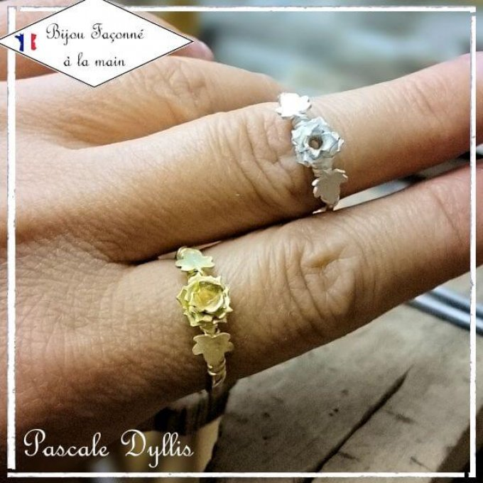 Bague fleur ROSE or massif rose, or jaune, or blanc, diamant - Bague Rose or diamant