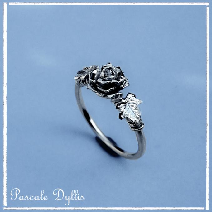 Bague Rose Fleur Feuilles De Lierre Saphir Argent Massif Bague