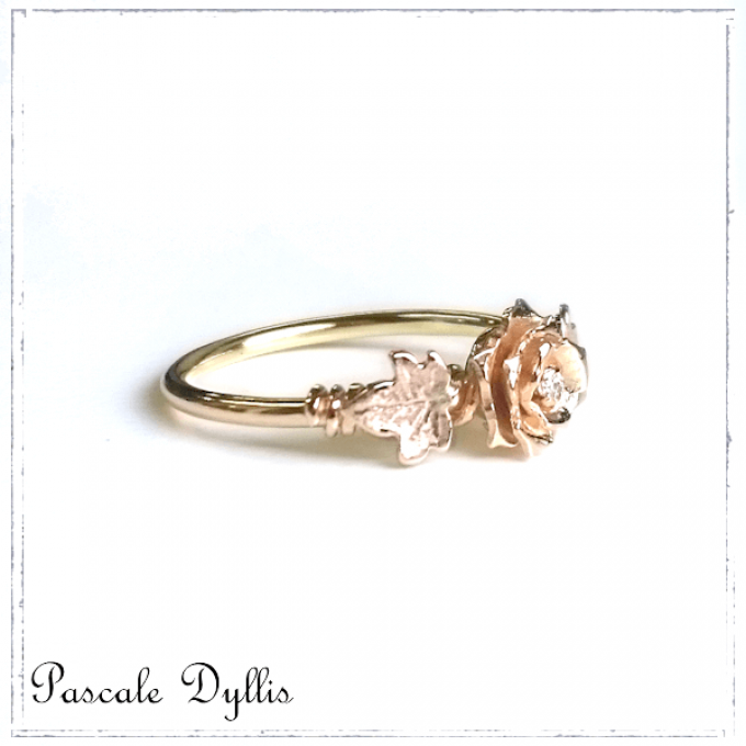 bague or diamant feuille